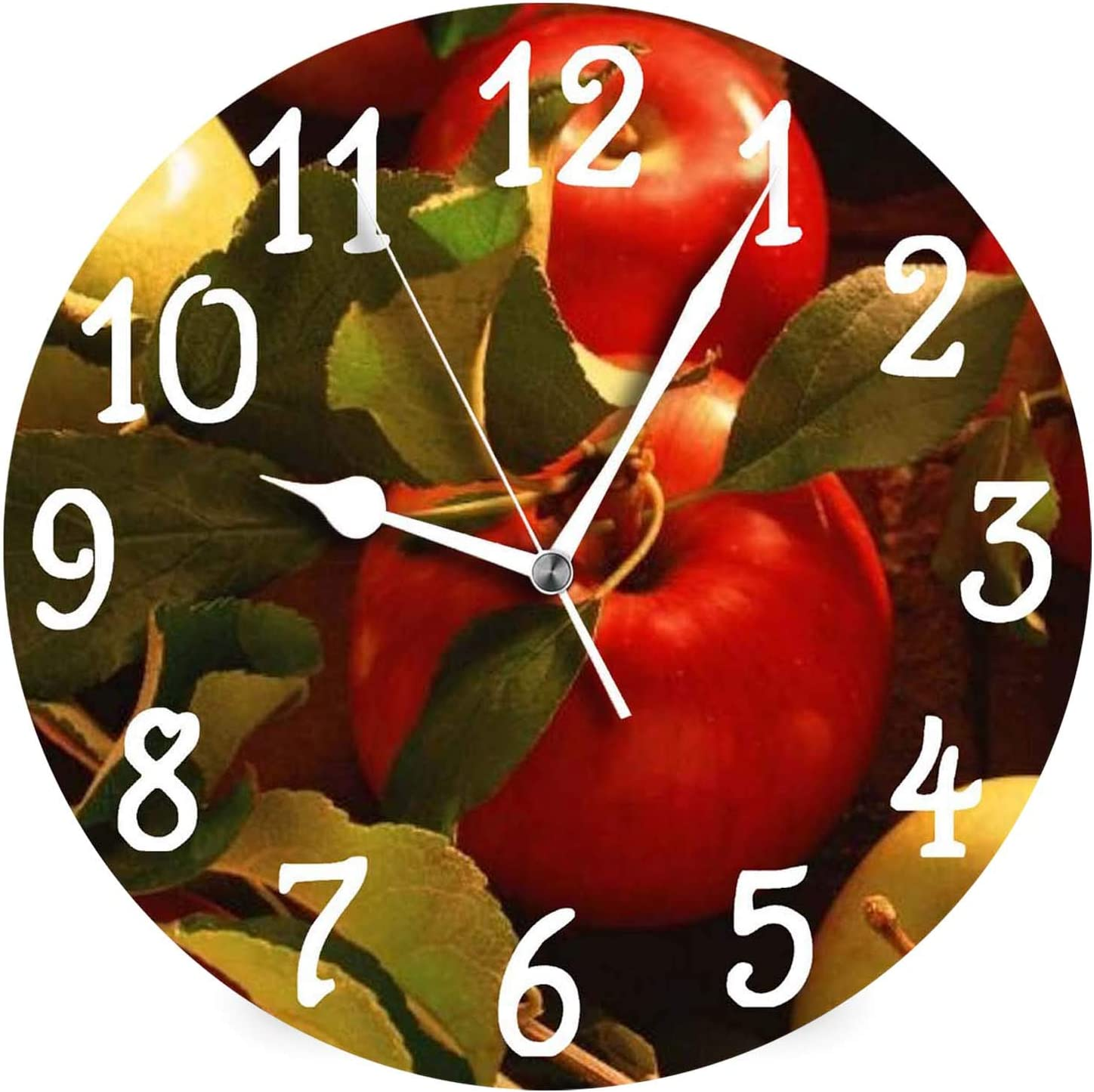 Fall Autumn Apples Design Kitchen Round Wall Clock,Battery Operated,Large Kitchen Clock,12 Inch Analog Quiet Desk Clock for Home,Office,School