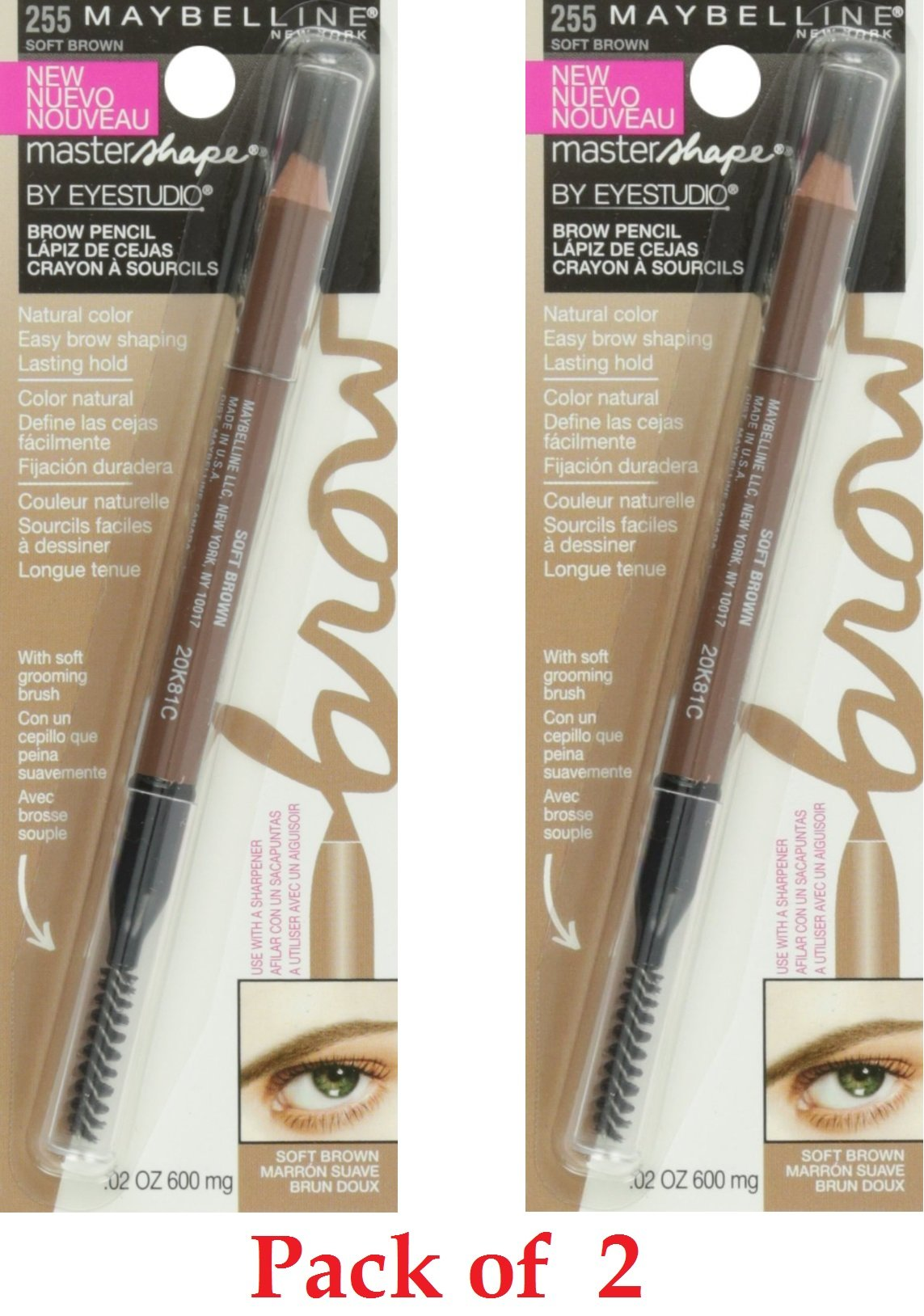 Maybelline New York Eye Studio Master Shape Brow Pencil, 255 Soft Brown, 0.02 Fluid Ounce (Pack 2) by Maybelline New York