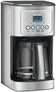Cuisinart DCC-3200 14-Cup Glass Carafe with Stainless Steel Handle Programmable Coffeemaker, Black Steel