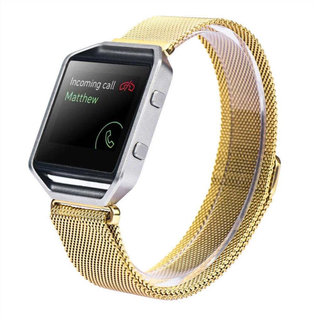 LANDFOX Milanese Magnetic Loop Stainless Steel Bands Strap Bracelet For Fitbit Blaze Gold1