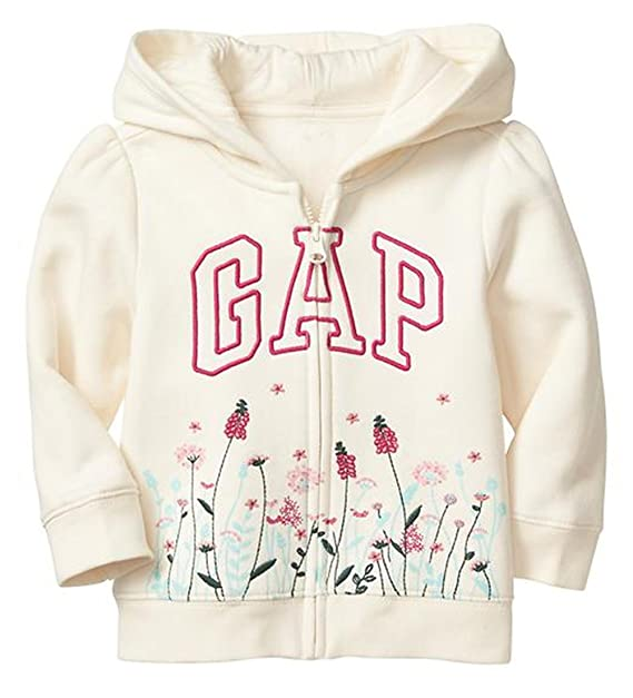 9abc87bed Baby Gap Girl s Floral Arch Logo Zip Hoodie Sweatshirt (Ivory Frost ...