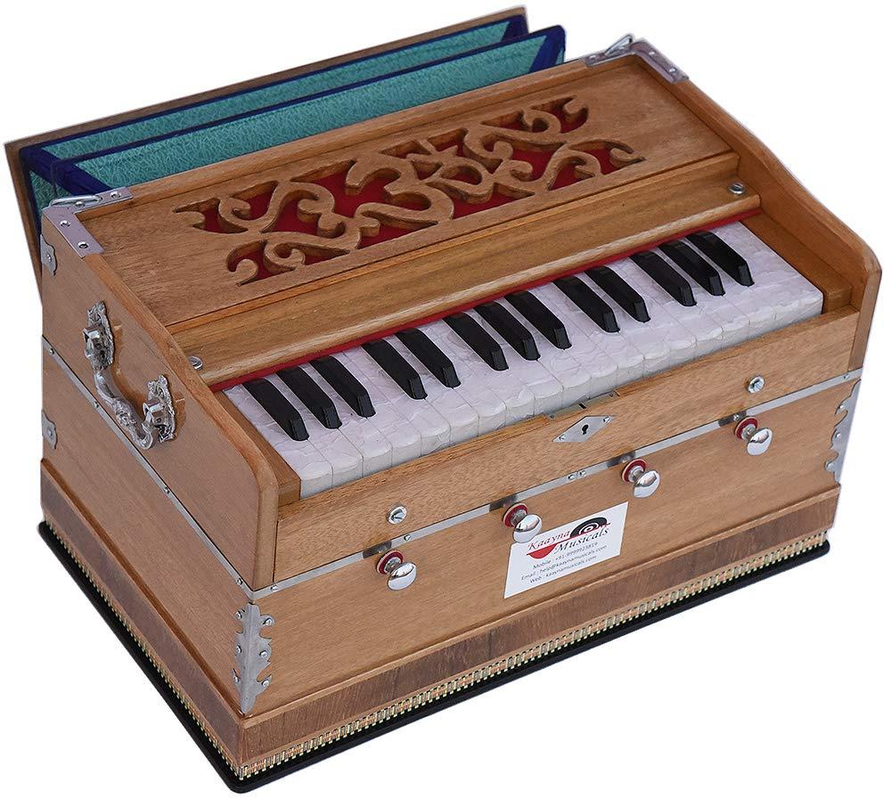 OM Harmonium Mini Magic By Kaayna Musicals, 4 Stop- 2 Main & 2 Drone, 2¾ Octave, Teak Colour, Gig Bag, Bass/Male- 440 Hz, Best for Yoga, Bhajan, Kirtan, Shruti, Mantra, Meditation, Chant, etc. by Kaayna Musicals