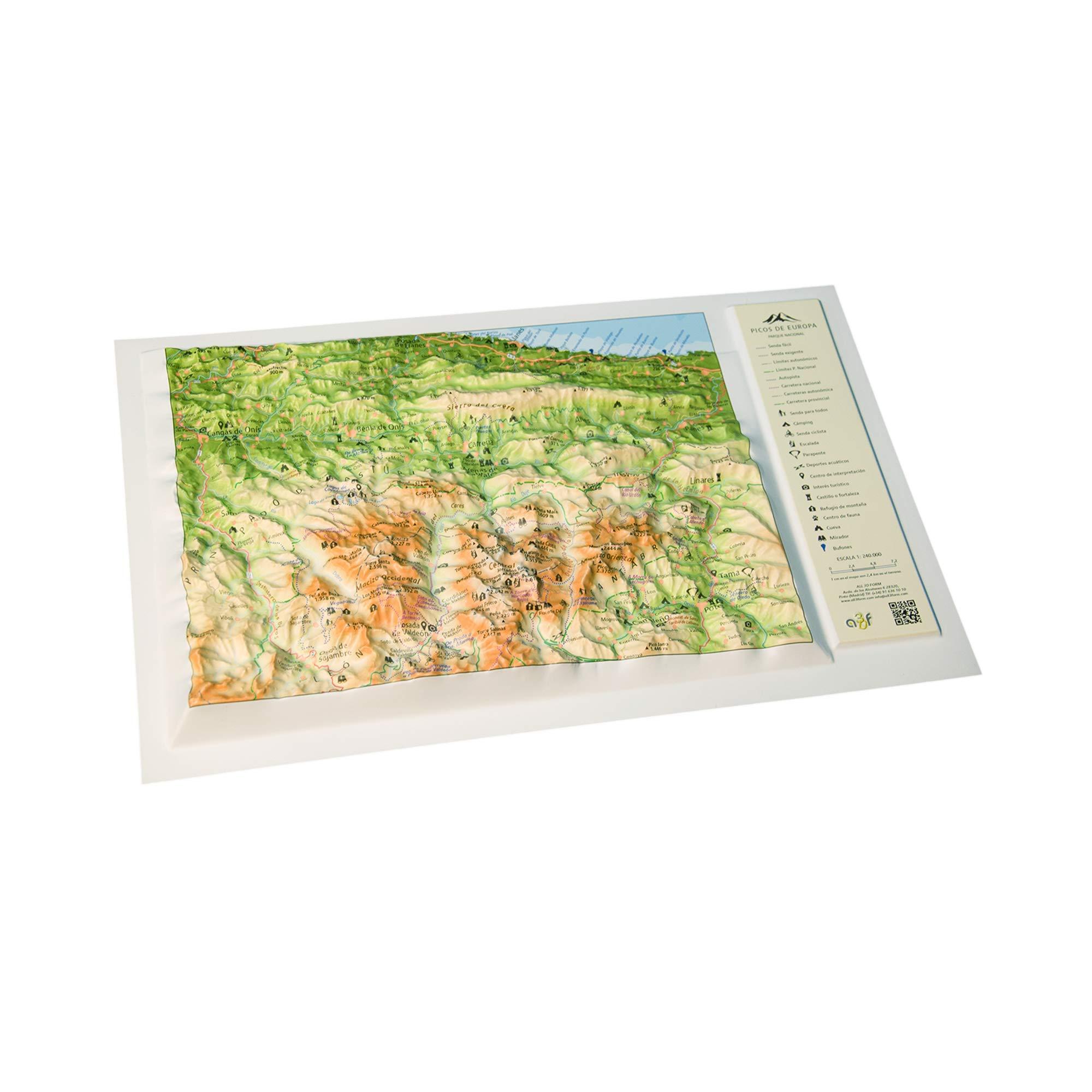 Mapa en relieve de los Picos de Europa: Escala 1:240.000: Amazon.es: All 3D Form, S.L.: Libros