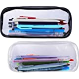 Clear Pencil Case Makeup Pouch Big Capacity Bags with Zipper for Stationery Cosmetics Storage, Black and White (2 Pieces)