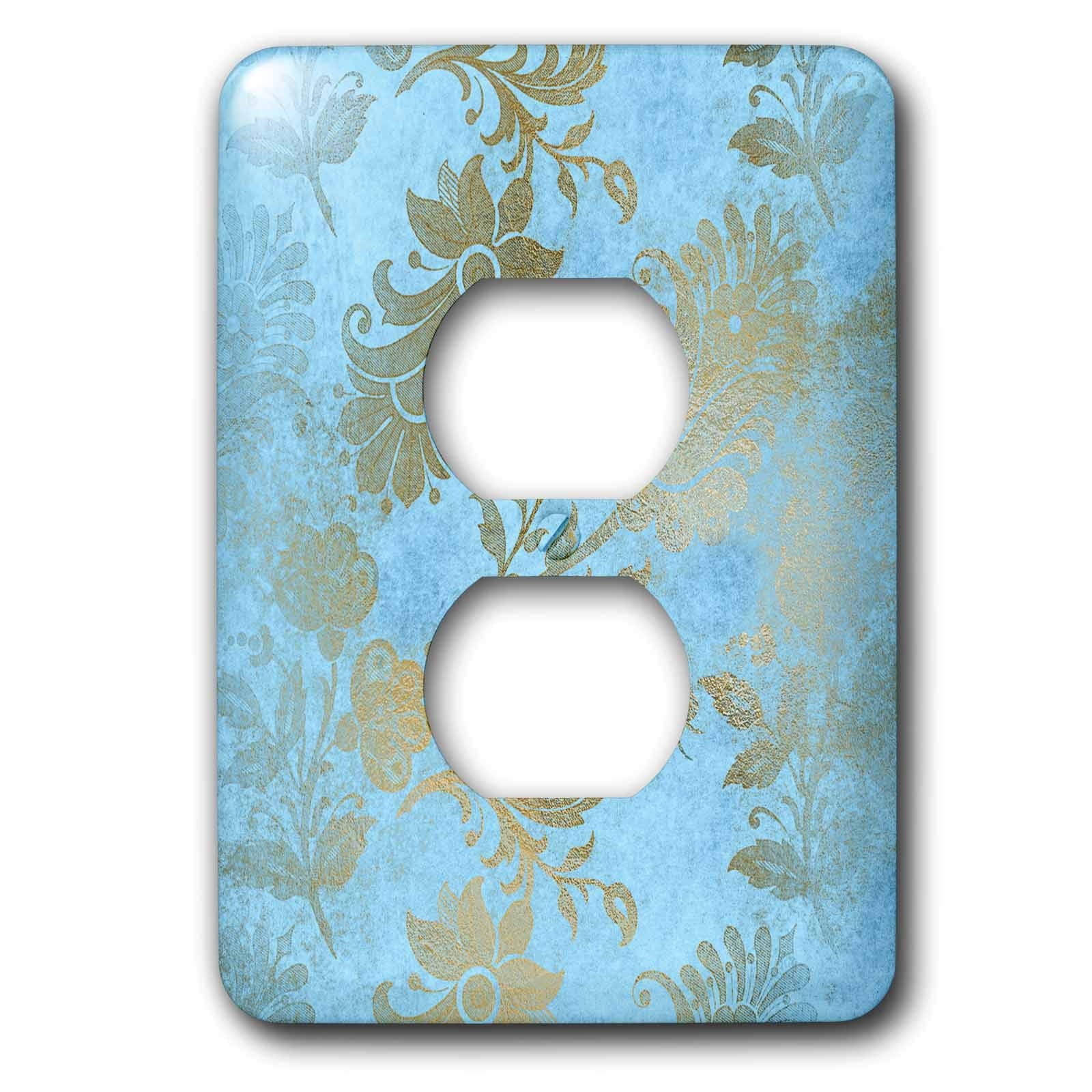 3dRose Uta Naumann Faux Glitter Pattern - Image of Sky Blue and Gold Metal Foil Vintage Grunge Luxury Floral Pattern - Light Switch Covers - 2 plug outlet cover (lsp_290170_6)