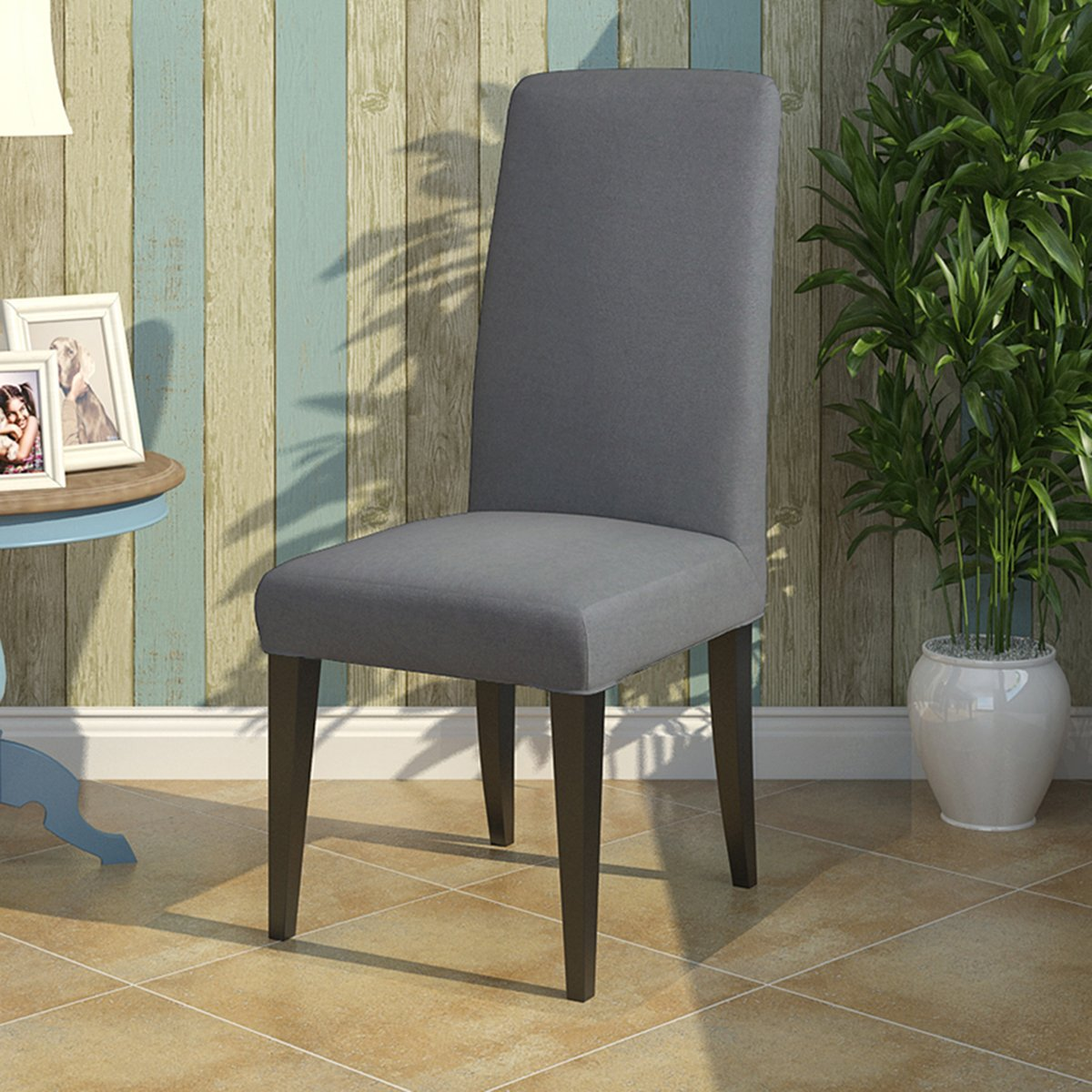 Knit Spandex Fabric Stretch Dining Room Chair Slipcovers Set of 4 Navy