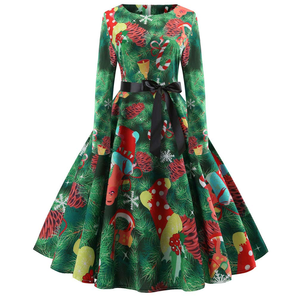 BaojunHT Women Christmas Tree Elf Costume Gown, Beautiful Belt Wrap Peplum Evening Party Swing Dress