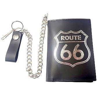 Cartera de piel para motero, formato europeo, diseño de Route 66