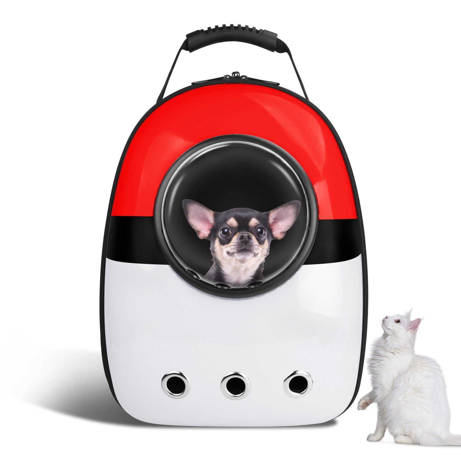 VOUMEY Portable Pet Travel Carrier Backpack for Cats/Small Medium Dogs/Pets Larger Space Capsule Breathable (Red)