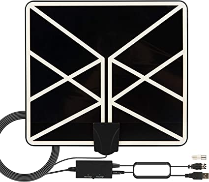 2019 New Indoor Amplified Digital TV Antenna 120 Miles Range with Amplifier Signal Booster Free Local Channels with 18 FT Coaxial Cable HDTV Antenna 4K 1080p