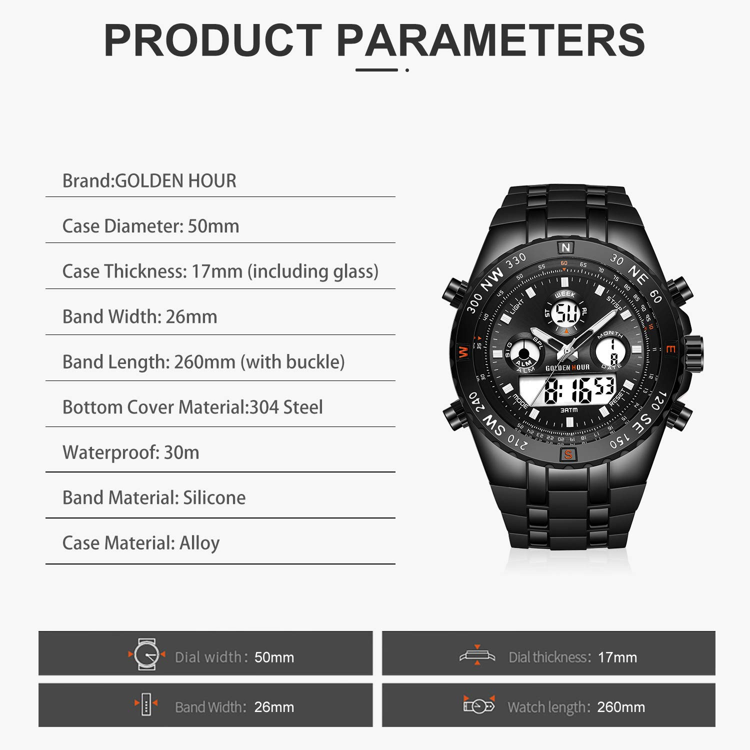 GOLDEN HOUR Huge Face Military Sports Mens Watches Waterproof Stopwatch Date and Date Alarm Luminous