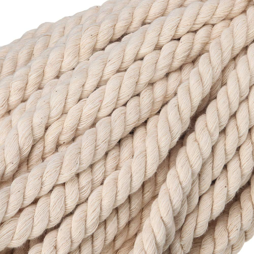 FINCOS 8MM/10MM Macrame Cord Natural Cotton Handmade Macrame String Wall Hangings Plant Hanger Twisted Rope - (Color: 8MM x 50Meters) by FINCOS (Image #6)