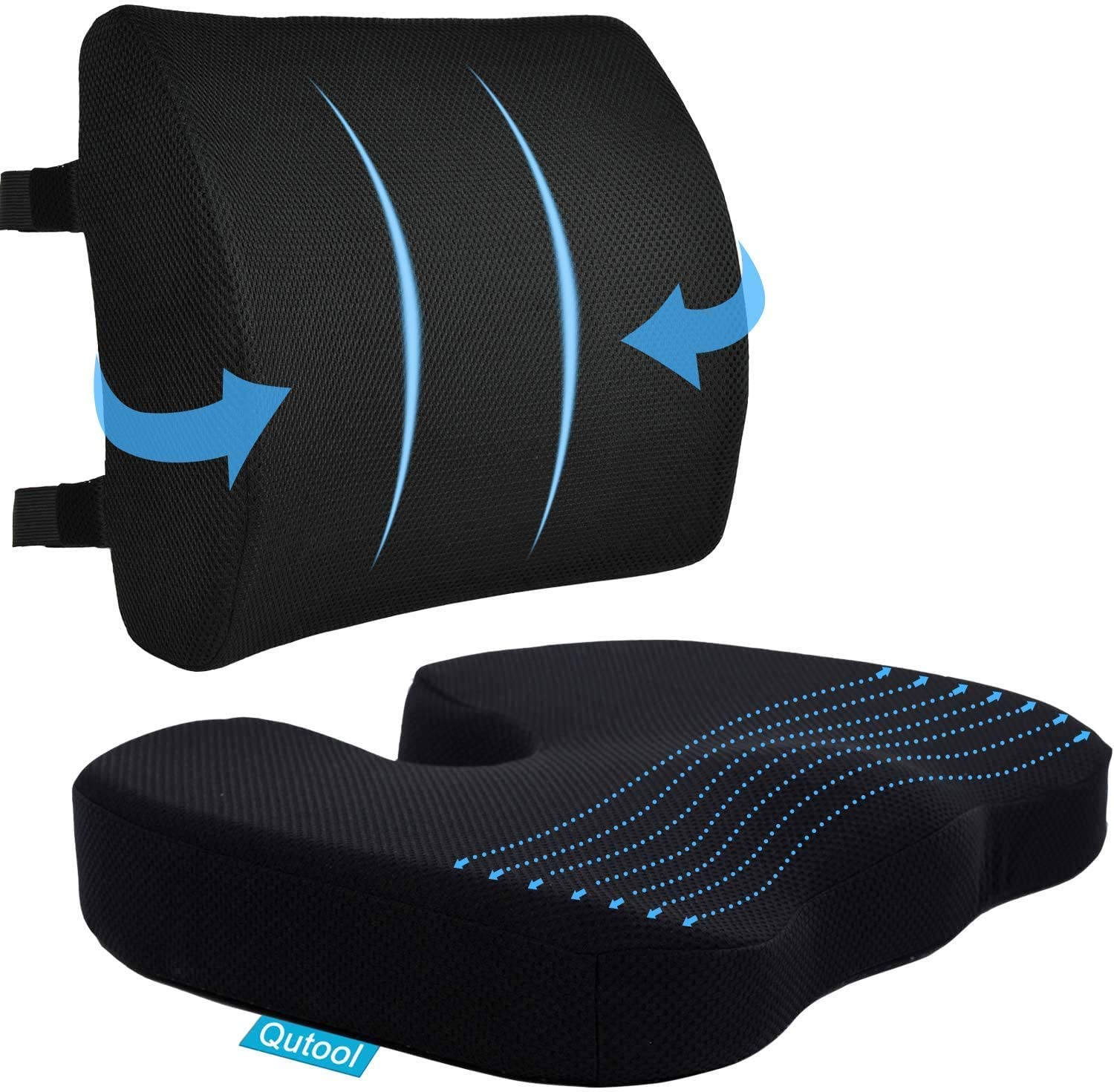 Car Foam Back Cushion Car Chair Waist Support Pillow Breathable with Mesh Cover for Office Chair Car Seat Wheelchair Car Chair Back Cushion