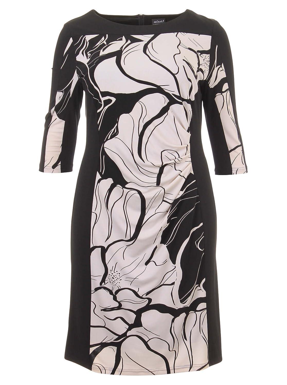Elegantes Kleid mit Muster in schwarz/weiß in Übergrößen (44, 46, 48, 50) von Hermann Lange