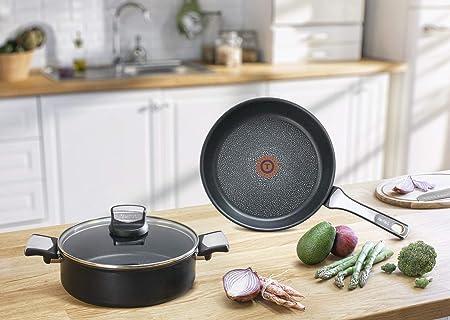 Tefal Expertise - Cacerola 20 cm y 2.9 L de capacidad, con tapa, antiadherente con extra de titanio, aptas para todo tipo de cocinas incluido inducción: ...