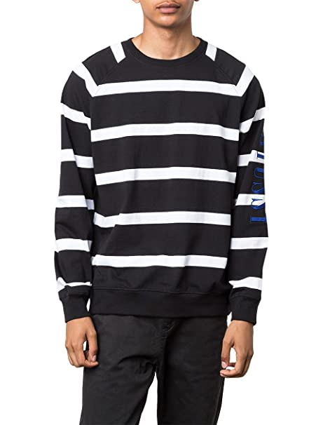 Stussy Striped Raglan Crew Black White Embroidered Logo LS