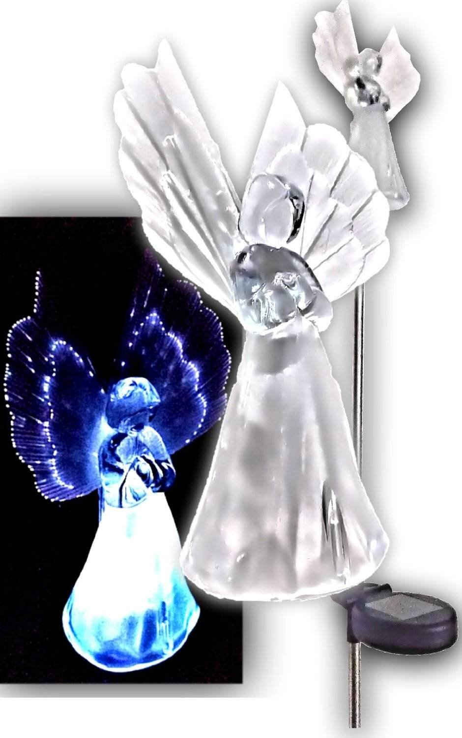 Set of 2 Solar Powered Frosty Angel Lights with Fiber Wings