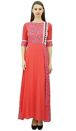 Phagun Rayón diseñador de Longitud de Kurti Vestido de Las Mujeres largas de la Túnica India étnica ...