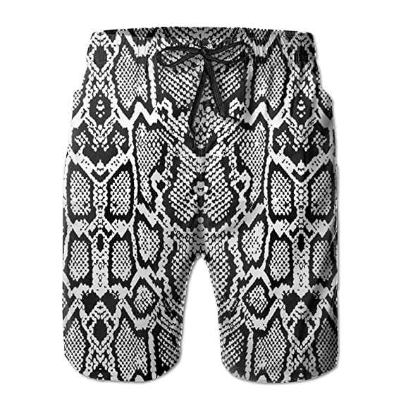 Sara Nell Mens Snake Skin Graphic Black Breathable Beach Board Shorts Swim Trunks Quick Dry by Sara Nell