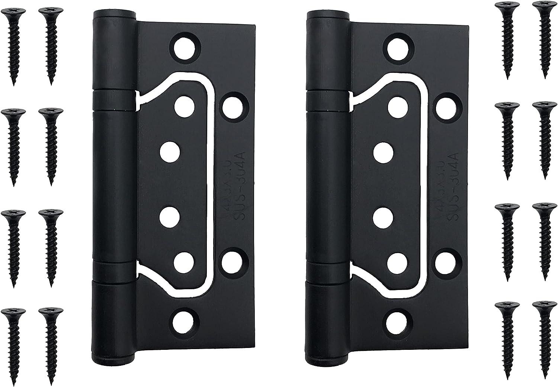 "Black Door Hinges Non-Mortise Mute Door Hinges 4 x3"" Stainless Steel Ball Bearing Hinges, A Pair"