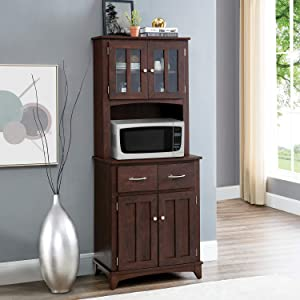 Home Source Brook AMV-MH Microwave cart, Mahogany