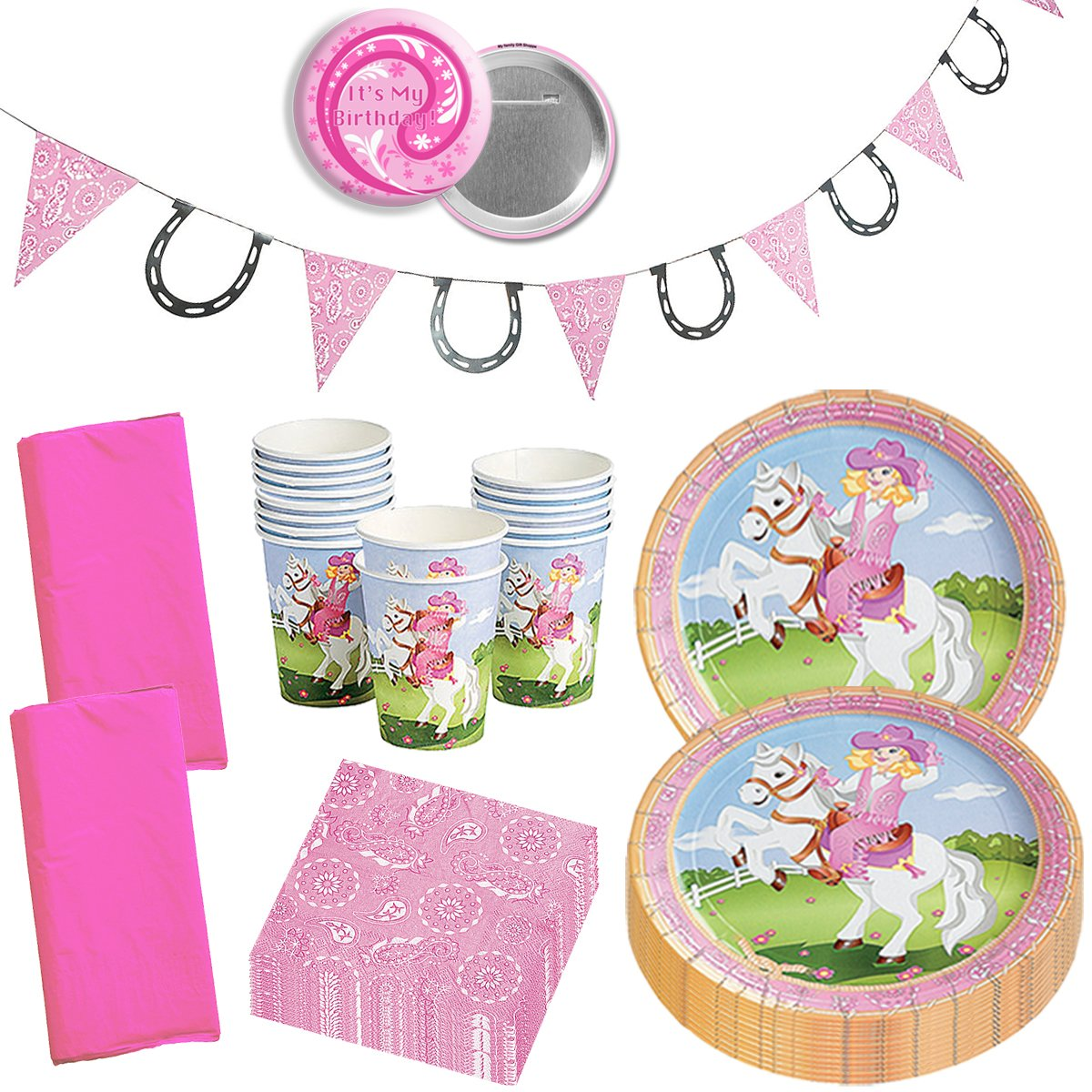 Cowgirl Party Supplies Western Cowgirl Party Wild West Horse Pink Girly Birthday Party Supplies Disposable Tableware Set for 16