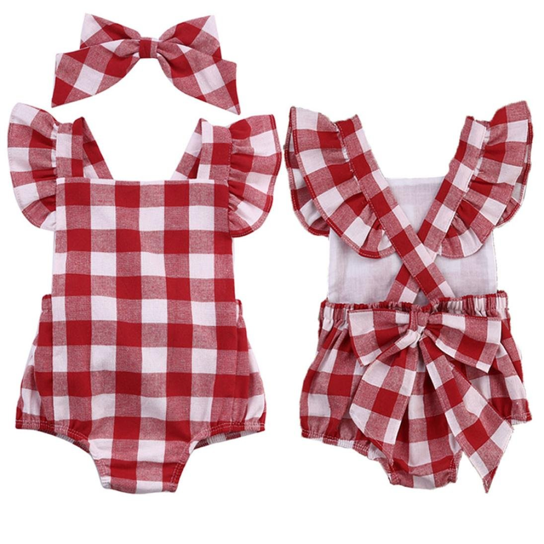 Yoyorule Newborn Baby Girl Sleeveless Cotton Plaid Romper Jumpsuit Outfits