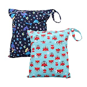 Cloth Diaper Wet Dry Bags Set Waterproof Reusable Dual Zipper for Baby Kids Gym Travel Laundry Swimsuit Towel 2pcs (WB02-Fox-Mermaid)