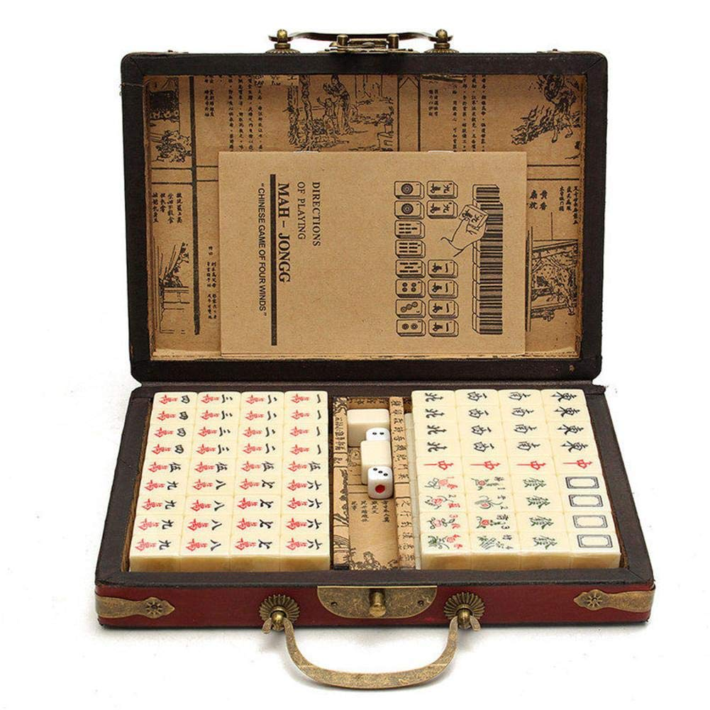 True-Ying (Random Pattern of Box Delivery 144 PCS Travel Mahjong Portable Mah-jongg With Archaistic Leather Box And Manual In English