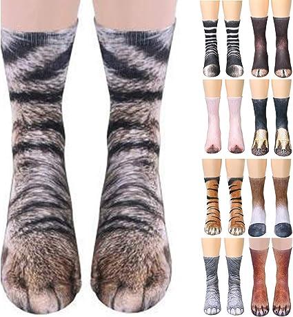 Yinuoday Adultos Niños 3D Animal Pata Gato Tigre Pies Impresión ...