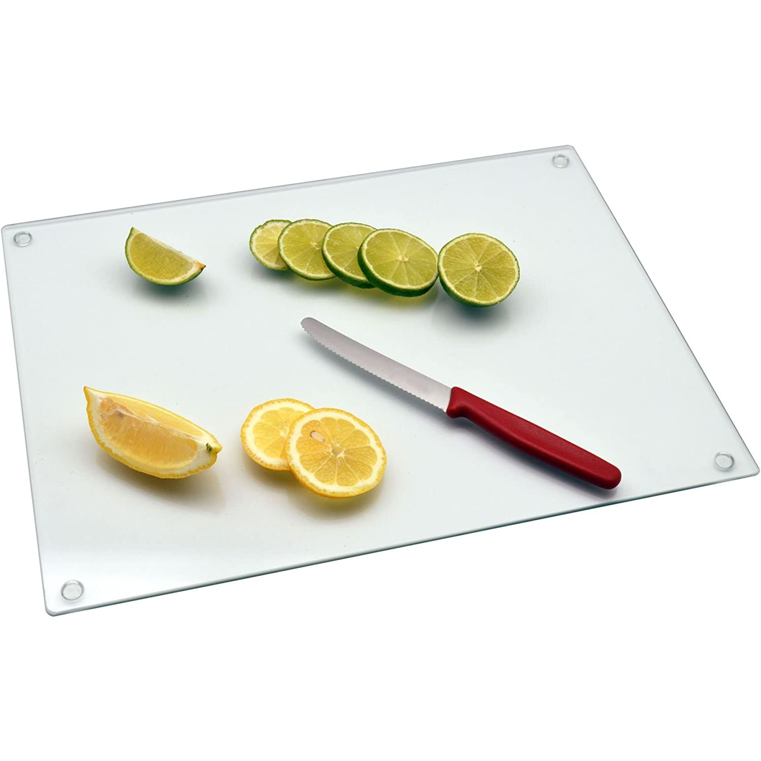 Harbour Housewares Glass Kitchen Chopping Board - Clear - (400mm x 300mm)