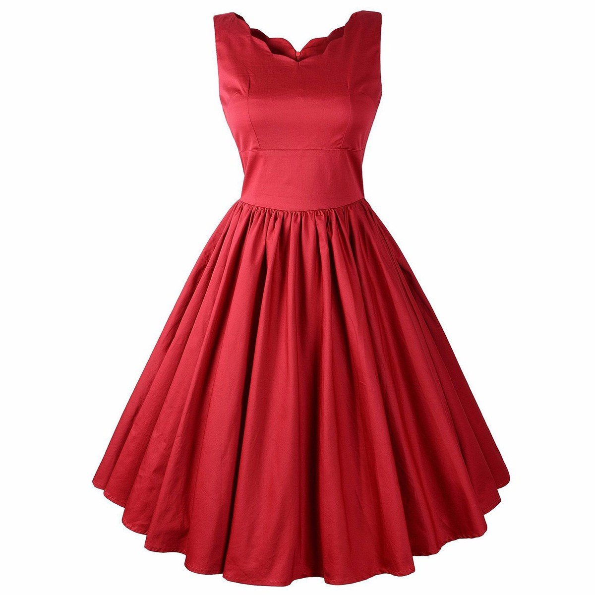 Samtree Womens Polka Dot Solid Color V Neck Sleeveless Vintage Party Swing Dress(XL(12),Red)