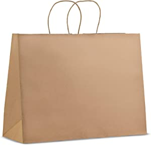 50 Pack - Premium Quality - Trendy Shopping Kraft Paper Bags with Handles | Bulk Brown/White Paper Gift Bags, Perfect Kraft Bag, Party Bag or Shopping Bag (16