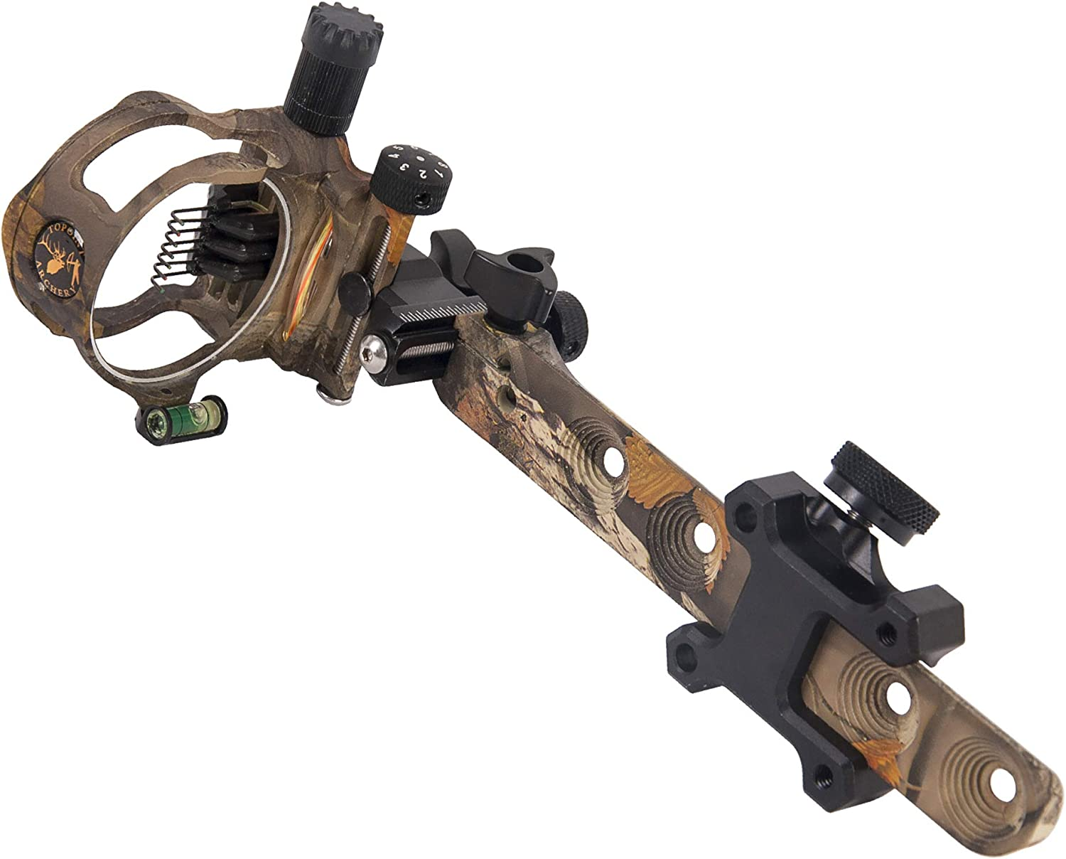 TOPOINT ARCHERY CNC Aluminum 5 Pins Or 7 Pins .019 Tool-Less Bow Sight with Micro Adjust Detachable Bracket LED Sight Light Left and Right Hand