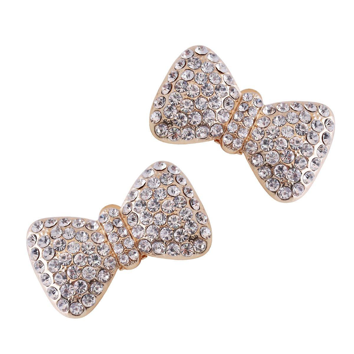 ElegantPark CF Crystal Shoe Clips Bows Design Wedding Party Decoration Gold 2 Pcs