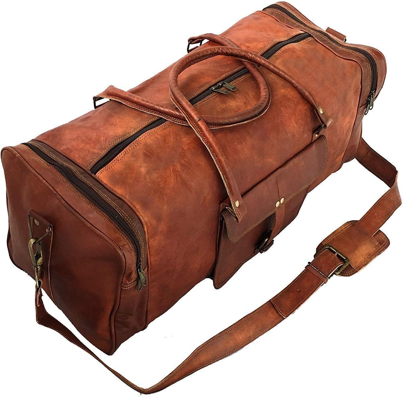 "25/"" Men/'S Womens Genuine Leather Vintage Duffel Travel Gym Overnight Yoga Bag"