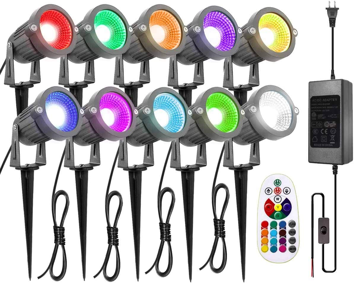 ZUCKEO Landscape Lights 6W RGB Remote Control LED Landscape Lighting with 12V 24V Low Voltage Transformer Waterproof 16 Color-Changing Garden Pathway Decorative Lights for Indoors Outdoors (10 Pack)