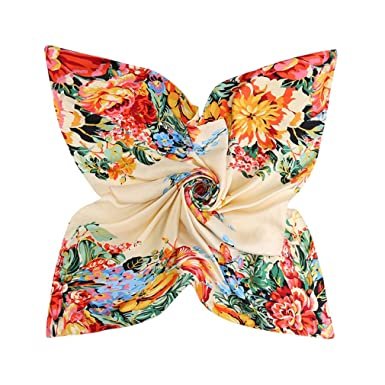 63b57fecb93 Image non disponible pour la couleur   DAMILY Femmes Foulard en Soie Carrée  Imprimer Fleur Colorée Jolie Musulmane Hijab Châle Bandana (Beige