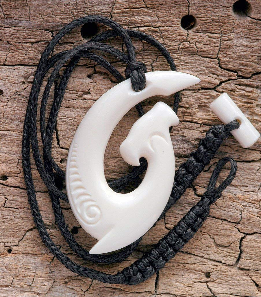 Hand Made Maori Style Hammerhead Shark Matau (hook) Bone Carving Necklace from New Zealand