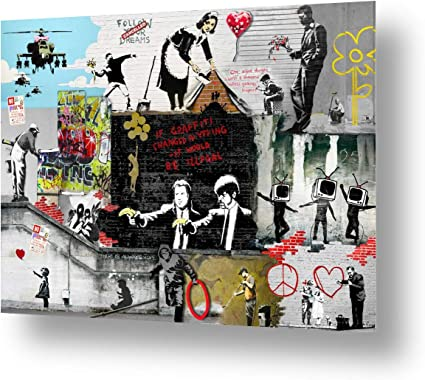 Alonline Art Rolled Unique Collage #156 Always Hope Flower Thrower by Banksy Ready to frame print on 100/% cotton canvas Wall art home decor for living room picture HD | 16x12-41x30cm
