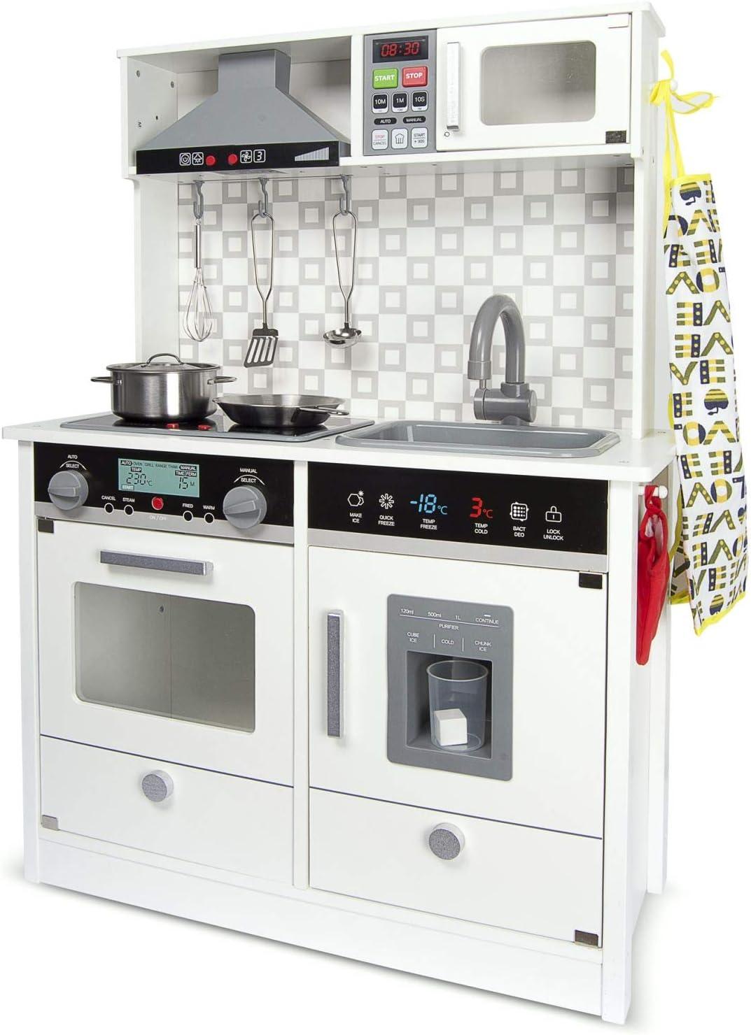 Leomark White Modern Cocina eléctrica Madera Infantil con Accesorios: Campana Extractora, microondas - Color BLANCO - Juguete para Niños Efectos de Sonido de iluminación Dim: 65x30x94 (altura)cm