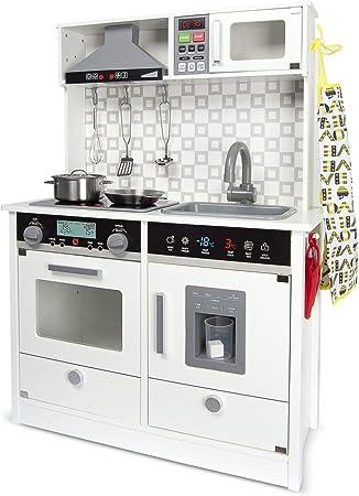 Leomark White Modern Cocina eléctrica Madera Infantil con Accesorios: Campana Extractora, microondas - Color Blanco - Juguete para Niños Efectos de Sonido de iluminación Dim: 65x30x94 (Altura) cm: Amazon.es: Juguetes y juegos