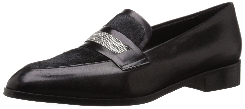 Delman Women's D-belia-CH Slip-On Loafer, Black Calfskin/Black Calf Hair/Fine Chain, 9 M US