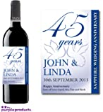 Personalised 45th Sapphire Wedding Anniversary Wine Bottle Label Gift for Women and Men