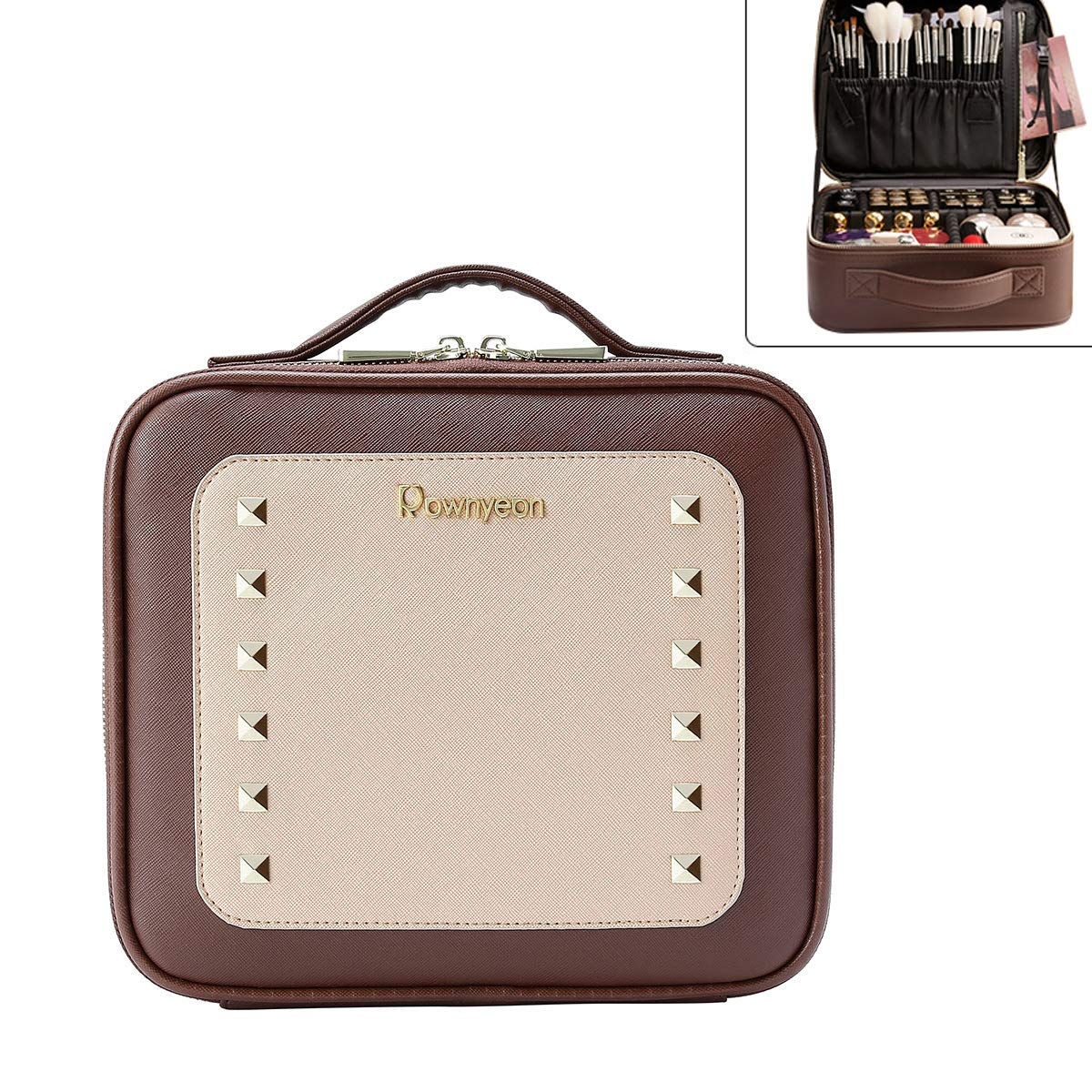 """Women Rivet Train Case Makeup Organizer with Brush Compartment Waterproof Travelling Cosmetic Bag 10.2""""x9""""x3.9"""""""