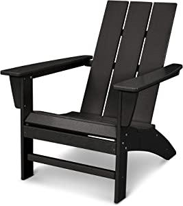 POLYWOOD AD420BL Modern Adirondack Chair, Black