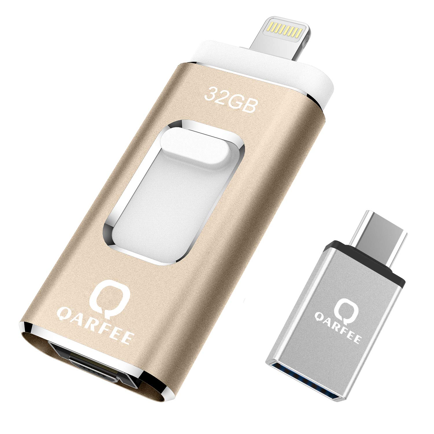 QARFEE Photo Stick, USB (Type-c) Jump Drive Thumb Drive Memory Stick External Storage iOS Flash Drive 32 GB Compatible for iPhone,iPad,iPod,Mac,iOS/Android Cell Phone and PC (Gold)