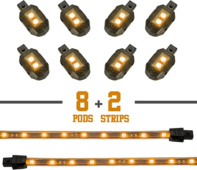 16 Pc Amber Orange 96 LED Lighting POD kit UNDER GLOW Motorcycle Moto 12V NEON!