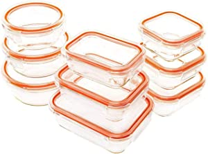 JinaMart Glass Food Storage Containers with Lids | 9 Glass Container Set + 9 Extra Rings| Leakproof and Airtight Glass Meal Prep Soup Bowl Set| BPA Free (18 pcs)