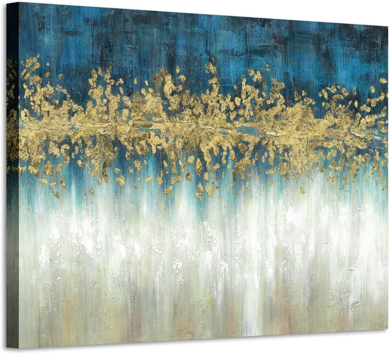 Abstract Modern Wall Art Painting: Gray and Navy Blue Canvas Picture Gold Foil Artwork for Living Room (24'' x 18'' x 1 Panel)